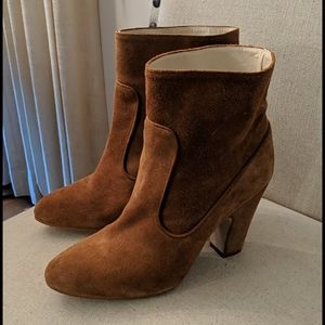 Zara Basic Collection Suede Heeled Ankle Boots 8.5